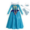 MUABABY Girls Blue Aurora Fancy Dress Up Clothes Long Sleeve Sleeping Beauty Princess Costume Kids Christmas Party Cosplay Gown