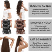 Synthetic Fiber Clips in on Hair Extension 3/4 Full Head One Piece 5 Clips Long Silky Curly Wavy