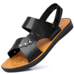 Ishmaiah men's outdoor casual slip breathable wear soft bottom comfortable sandals beach shoes Y688 black 45
