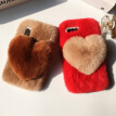 Love Heart Case For Samsung Galaxy Note FE Note Fan Edition Cute Rabbit Cover Hairy Fur Fluffy Phone Case