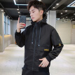 Fuyi FORTEI jacket men's 2019 spring new slim stitching hooded solid color fashion trend coat jacket male 9033 black 4XL