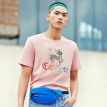 Cabbeen Carbine Men's Chinese Style Embroidered Round Neck Short Sleeve T-Shirt 2019 New Spring Palace Series Joint Name Trend A Pink 50/175/L