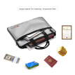 Fireproof Document Bag Organizer Silicon Coated Fire & Water Resistant Pouch with Shoulder Strap Zipper Closure Safe Storage for F