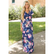 Womens Bohemian Printed Wrap Bodice 3/4 Sleeve Crossover Maxi Dress Long Party Dress