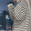 Fashion wind zipper super fire striped sweater men's capless Korean version of the loose long-sleeved shirt trend wild men