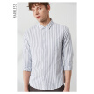 MARKLESS 2019 spring new long-sleeved shirt men's simple casual striped shirt shirt CSA9515M apricot 180/96 (XL)