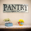 Wood Pantry Open 24/7 Sign Rustic Wall Decor for Home Kitchen Dining Room Restaurant Vintage Style