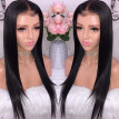Pre-Plucked Hairline Lace Front Human Hair Straight Wig Brazilian Virgin Hair Front Lace Wig 130% Density Glueless With Baby Hair
