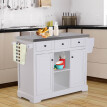 "51"" L Wood Stainless Steel Portable Rolling Kitchen Island Cart with Wheels - White"