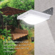 Solar Powered Lamp LED Wall Light with PIR Motion Sensor Detector Outdoor Water-resistant Safety Lighting for Patio Garden Drivewa