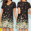 Starmoon Fashion Women Casual Butterfly Print V-Neck Short Sleeve Loose Mini Dress