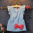 Princess Kids Baby Girl Dress Mouse Bag Denim Gown Formal Party Dresses Summer Clothes