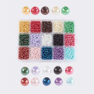 PH PANDAHALL 3600pcs 15 Color Dyed Round Glass Pearl Beads 4mm for Jewelry Making