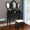 Vanity Table Make Up Table Set w/Stool 7 Drawer & 3 Mirrors Fold Black