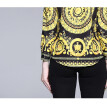 DFYOP New Style Women's Prints, Long Sleeves, Gowns, Lapel Shirt.