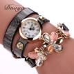 Trend around three-ring alloy quartz watch fashion mesh PU strap with diamond flower female watch