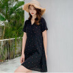 Fashion Women Floral Print Short Mini Dress Summer Casual Short Sleeve V Neck Bandage High Waist Party Dresses Vestido