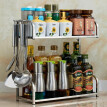 S-6985 2-Tiers Kitchen Shelf 304 Stainless Steel Seasoning Shelf  Wall-Mounted Kitchen Tool Holder Floor Rack Multi-Function Spice