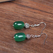 Fashion earrings temperament simple green agate earrings ethnic style retro earrings Chinese style palace jewelry