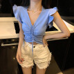 Women Summer Sexy V Neck Drawstring Bow Sleeveless Slim Solid Color Camisole Knit Vest