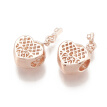 Alloy European Dangle Beads, Large Hole Pendants, Heart with Key, Rose Gold, 22.5mm, Hole: 4mm; 8.5x3.5mm