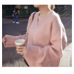The 2018 Korean dongmen autumn and winter new women's wear languid pink loose cover head han version plus thick V neck sweater
