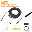 AN98B Phone Endoscope 5.5mm 5M Cable 640*480 HD USB Waterproof Endoscope Inspection Borescope Camera for Android Mobile Phone PC