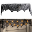 1/3/5pcs Halloween Party Decoration Spider Web Lace Cover Fireplace Mantel Scarf Black Lace Polyester Cover