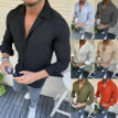 Mens Long Sleeve Linen Tight Shirt Casual Shirt Breathable Soft V-Neck Tops