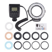 HD-130 Macro LED Ring Flash Light LCD Display 3000-15000K GN46 Power Control with 3 Flash Diffusers 8 Adapter Rings for Canon Niko