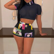 Fashion Women Two-Piece Set Tracksuit Summer Sports Crop Top Shorts Clothes New