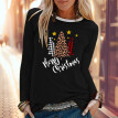 Tailored Christmas Women  Print Color Print Tops Hooded Pullover Blouse T-Shirts