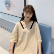 Women Summer Fashion Korean Loose Large Size Elastic Dress Polo Collar Contrast Color Casual Girlfriends Loaded Powder XL
