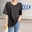 Sexy Backless Personality Loose Short-sleeved Solid T-shirt For Women Round Neck Hollow Out Summer T-shirts Trend Tops