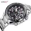 Three-eye steel belt men's watch sports and leisure large dial men's watch waterproof quartz watch