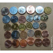 Original 30 Coins Collection Set From World 30 Countries Size 15-21mm Asia Africa America Europe