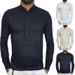 Mens Slim Fit Fitness V-neck T-Shirt Long Sleeve Button Casual Tee Tops Shirts
