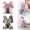 Funny Peek A Boo Electric Musical Elephant Plush Doll Stuffed Animals Ears Flap Singing Toy Baby
