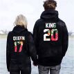 Fashion Men Women King And Queen Couple Hoodies Printed Sweatshirt Long Sleeve Letter Printed Hooded Sweatshirt