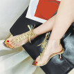 〖Follure〗Women Sexy Crystal Beads Transparent Fish Mouth Strap Stiletto High Heel Shoes