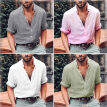 Men's Linen Long Sleeve Shirt Summer Cool Loose Casual V-Neck Shirts Tops M-3XL