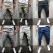 Men's Slim Fit Urban Straight Leg Trousers Casual Pencil Jogger Fitness Pants