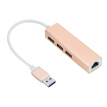 Greensen 3 Ports USB 3.0 HUB USB to RJ45 Ethernet Lan Adapter for PC Laptop Gold, Ethernet Adapter,USB HUB