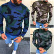 Men's Long Sleeve Pullover Turtleneck Knit Top Comfortable O-Neck Casual Sweater