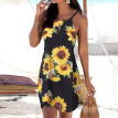 Starmoon Women Halter Neck Boho Print Sleeveless Casual Mini Beachwear Dress Sundress