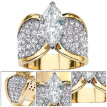 Fashion Plated 18K Gold Diamonds Ring White Zircon Cz Engagement Wedding Ring