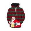 Gobestart Men's Casual Christmas 3D Print Long Sleeve Hooded Sweater Jacket  Coat