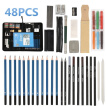 32/36/40/48PCS Sketch Tool Kit Pencils Charcoal Extender Paper Pen Cutter Eraser Drawing Set with Sketch Paper Zipper Case