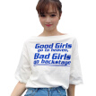 Women T shirt Letter Printing Top Tee Casual Half Sleeve Slash Neck Women Clothing