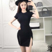 Summer Style Women Bodycon Dresses Sexy Casual Crew Neck Short Sleeve Mini Dress